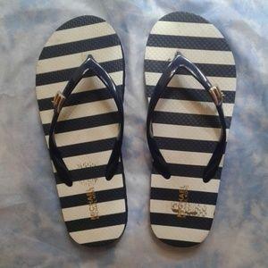 Michael Kors Blue & White Flip Flops size 6 EUC